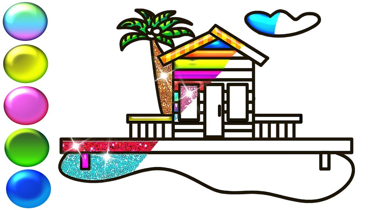 Glitter beach house drawing and super coloring pages for kids