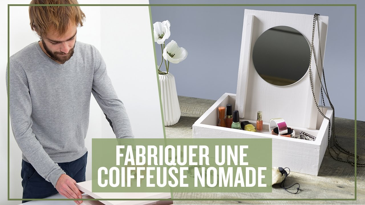 fabriquer une coiffeuse nomade youtube. Black Bedroom Furniture Sets. Home Design Ideas