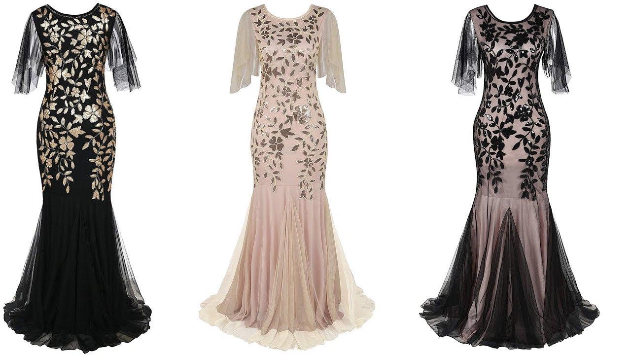 PrettyGuide Women\'s Evening Dress 1920s Sequin Mermaid Hem Maxi Long ...