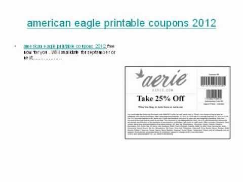 American Eagle Printable Coupons 2012