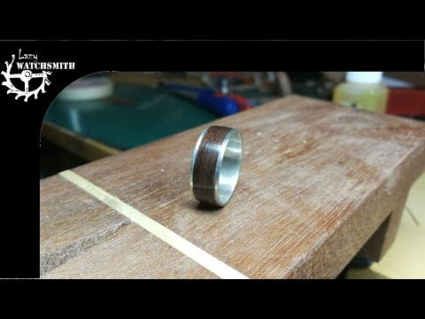 Make a silver ring with wood inlay