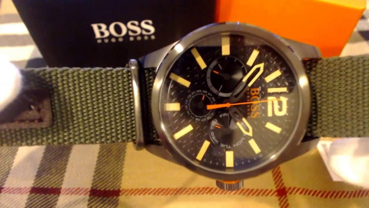 eb34b031ca07 Men s Hugo Boss Orange Paris Green Fabric Watch 1513312 - YouTube