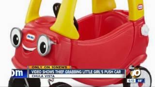 Video: thief steals little girl's push car