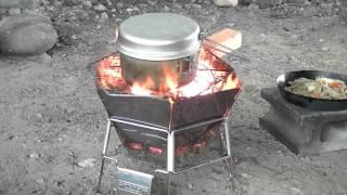 キャプテンスタッグ ヘキサステンレスファイアグリルで焚き火 馬見ヶ崎川 野菜炒めとラーメン編
