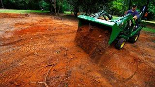 Наш Двор - До и После Уборки. Ровняем землю на переднем дворе Мини Садовым Трактором Влог США