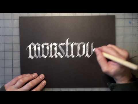 """Automatic Pen Blackletter Timelapse """"Monstrous"""""""