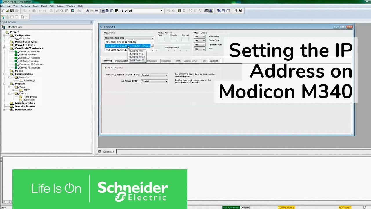 Setting the IP Address on Modicon M340 with Unity Pro XL | Schneider  Electric Support