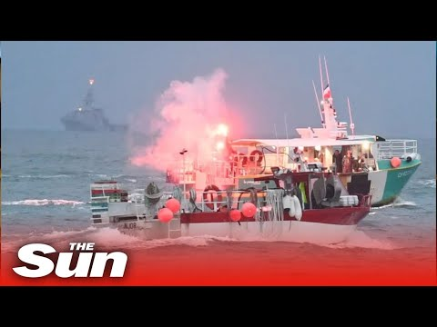 Royal Navy gunships lurk off Jersey as over 100 French ships protest fishing rights
