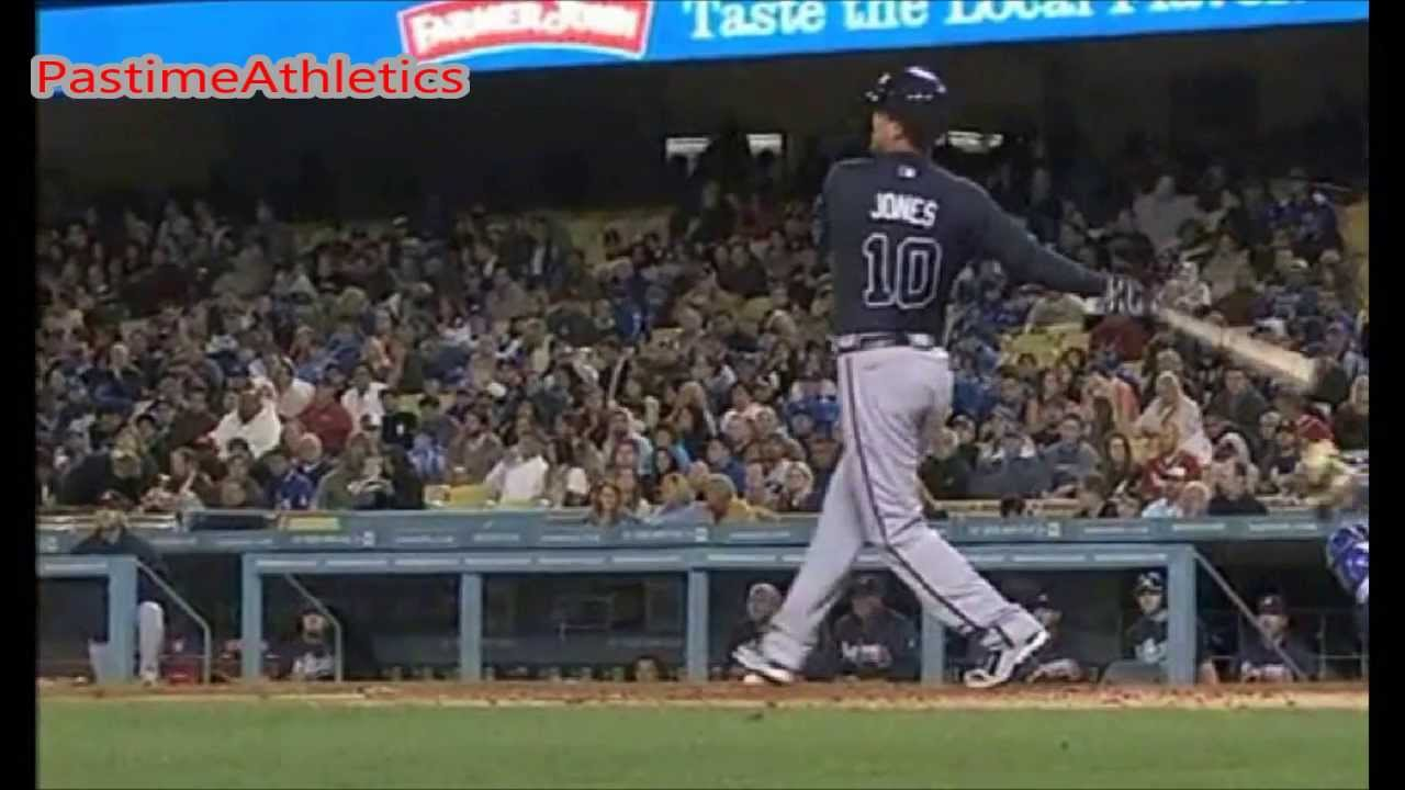 Chipper Jones Hitting Slow Motion Home Run Atlanta Braves Baseball Mlb Hof Clip Youtube