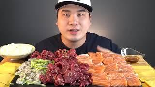 싱싱한 생고기와 연어, 육회 낙지 회 먹방 ~ !! 리…