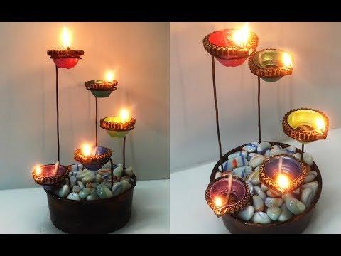 Beautiful diya stand for diwali decoration easy diya for Diya decoration youtube