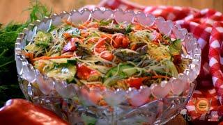 Korean Glass Noodle Salad | Funchoza | Салат Фунчоза По Корейски Рецепт