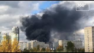Очевидцы сообщили о крупном пожаре на юго‐западе Москвы