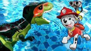 Щенячий Патруль и Лего Динозавры в Бассейне - Мультики LEGO Динозавры Юрский Мир