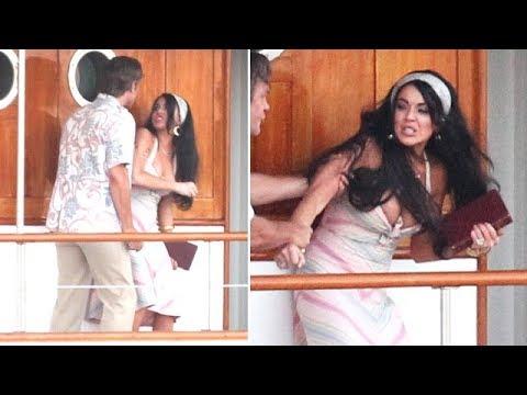 Lindsay Lohan Gets Physical On 'Liz & Dick' Set [2012]