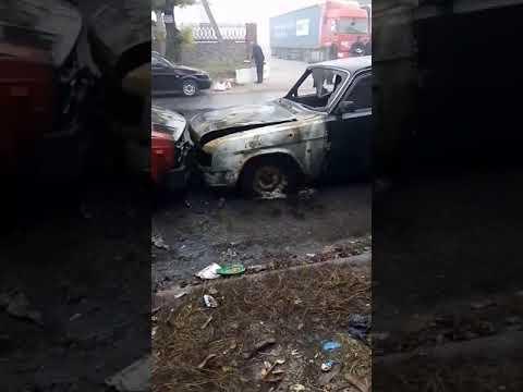 Nikopolnews: Горит авто Никополь 2
