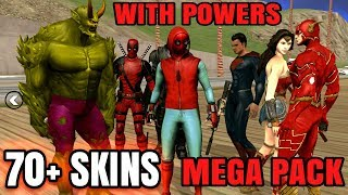 Marvel And DC Superheros Modpack With Super Powers (70+Skins)