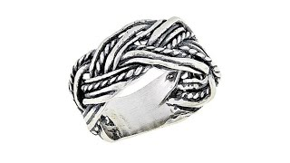 LiPaz MultiTextured Braid Sterling Silver Band Ring