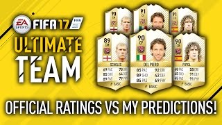 NEW LEGENDS RATINGS VS MY PREDICTIONS!! FIFA 17 OFFICIAL RATINGS!