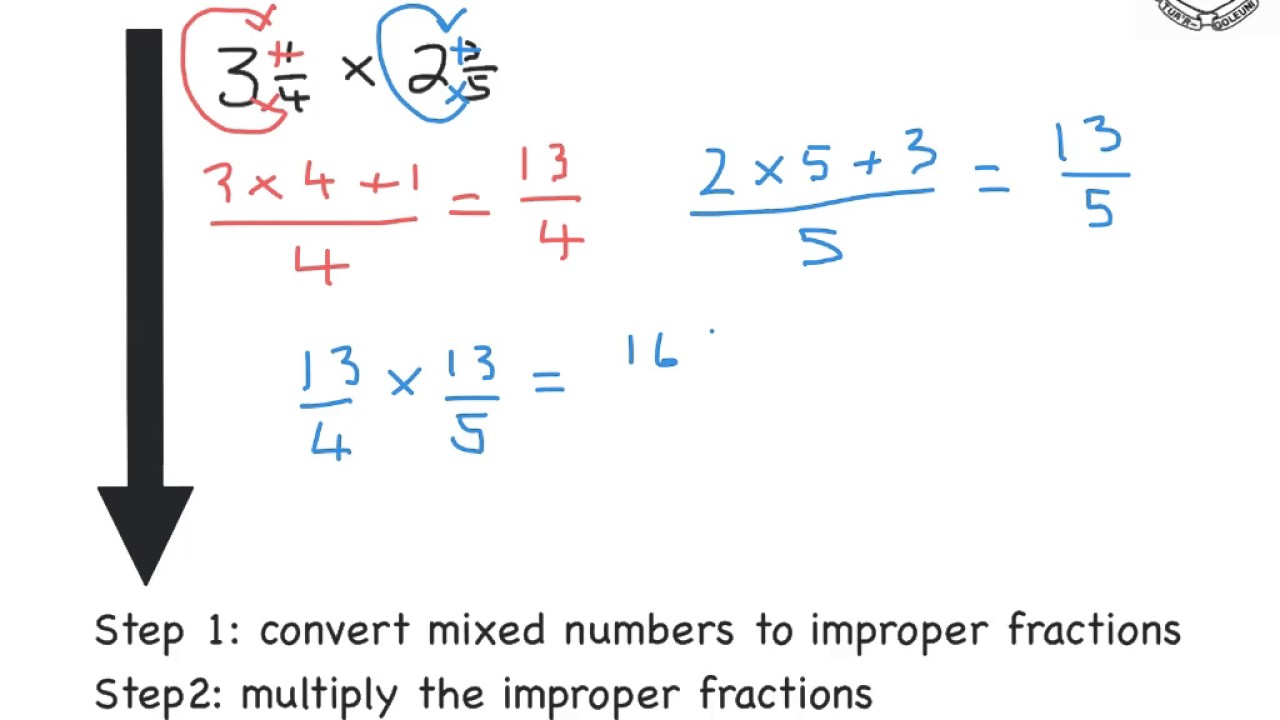 worksheet Dividing Mixed Numbers multiplying and dividing mixed numbers worked examples youtube examples
