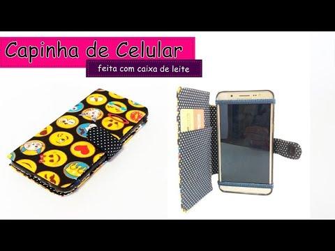 Como fazer Capinha de celular com caixa de leite♻️ acabamento perfeito.