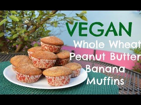 Muffins Veganos Integrales de Crema de Cacahuate / Vegan Peanut Butter Banana Whole Wheat Muffins
