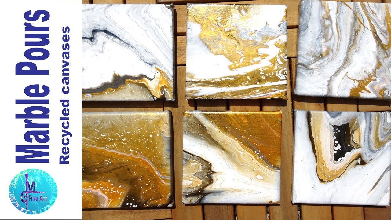 TINY MARBLE POURS & recycling used canvases, acrylic pour, no silicone, no  floetrol