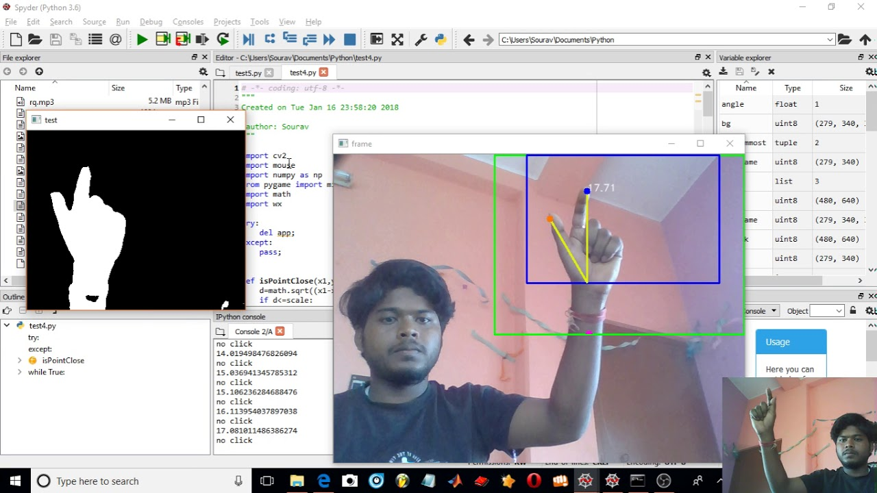 Hand Gesture mouse control using openCV & python, without colour  segmentation + Code by Sourav Mondal