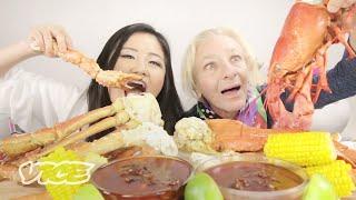 75 Year Old Tries 10-lb Seafood Mukbang