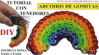 COMO HACER UN ARCOIRIS DE GOMITAS SIN TELAR, CON DOS TENEDORES, SIN RAINBOW LOOM