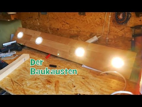 beleuchtung lampe selber bauen led spots aus holz parkett laminat verkabelung parallel. Black Bedroom Furniture Sets. Home Design Ideas