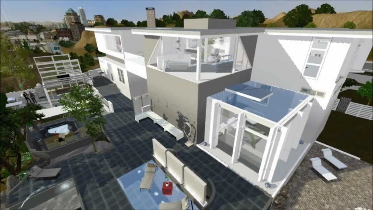 Sims 3 Modern California House On Hill Downloadable