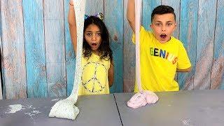 One Hand Slime Challenge with HZHtube Kids Fun