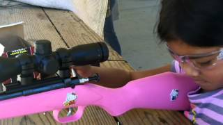 My 7 year old daughter shooting her Crickett 22 rifle.