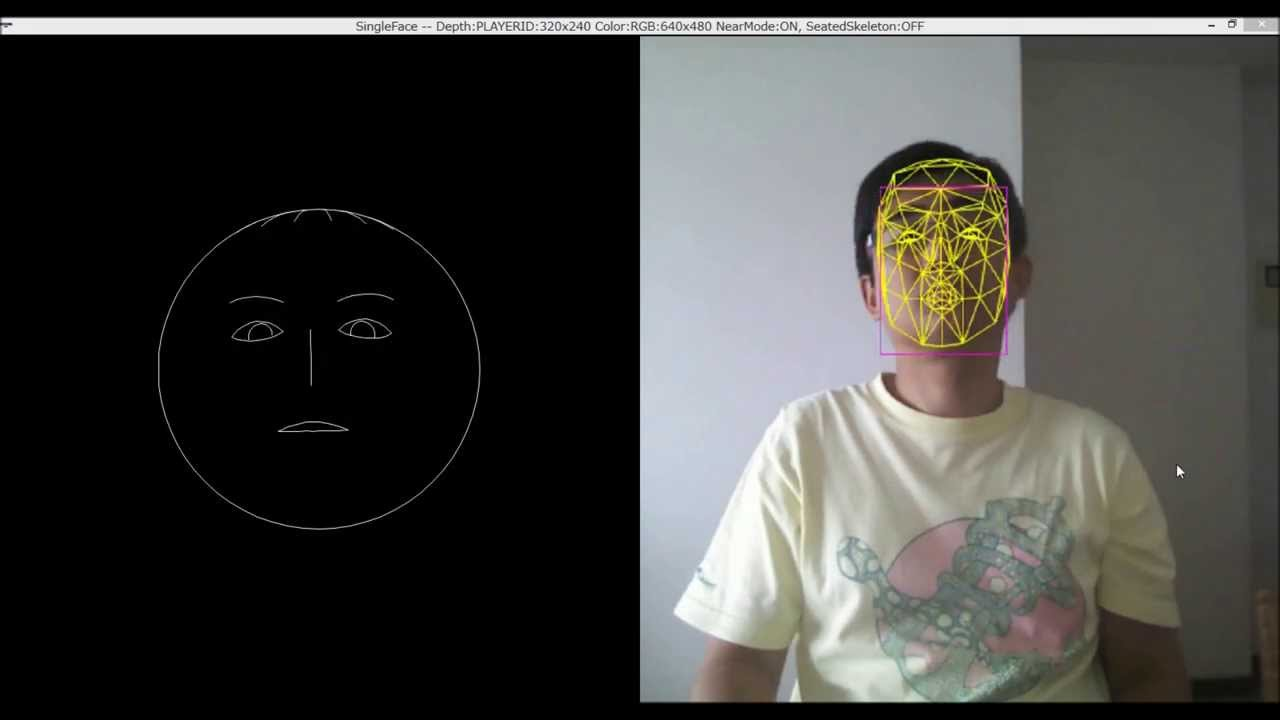 Kinectのサンプルです(Face Tracking Visualiation)