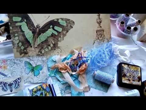 Blue journal, mood board. DIY junk journalling & scrapbooking