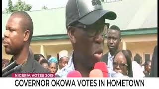 Governor Okowa votes in hometown