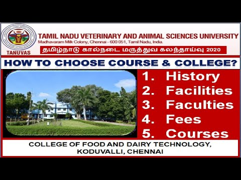 TANUVAS Counselling 2020: All about COLLEGE OF FOOD AND DAIRY TECHNOLOGY, KODUVALLI, CHENNAI