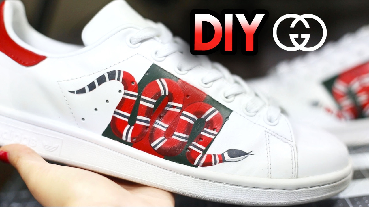 How To: Gucci Snake Custom Shoes From Adidas Stan Smiths | Drawing +  Shading Timelapse Tutorial - YouTube