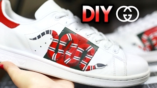 how to gucci snake custom shoes from adidas stan smiths drawing shading timelapse tutorial