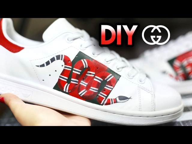 13afa223b84 How To  Gucci Snake Custom Shoes From Adidas Stan Smiths