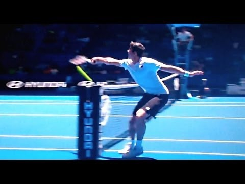 Thumbnail: Extremely Rare Tennis Shot - Raonic Hitting Shot From Other Side of the Court Back Into the Net