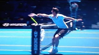 Extremely Rare Tennis Shot - Raonic Hitting Shot From Other Side of the Court Back Into the Net