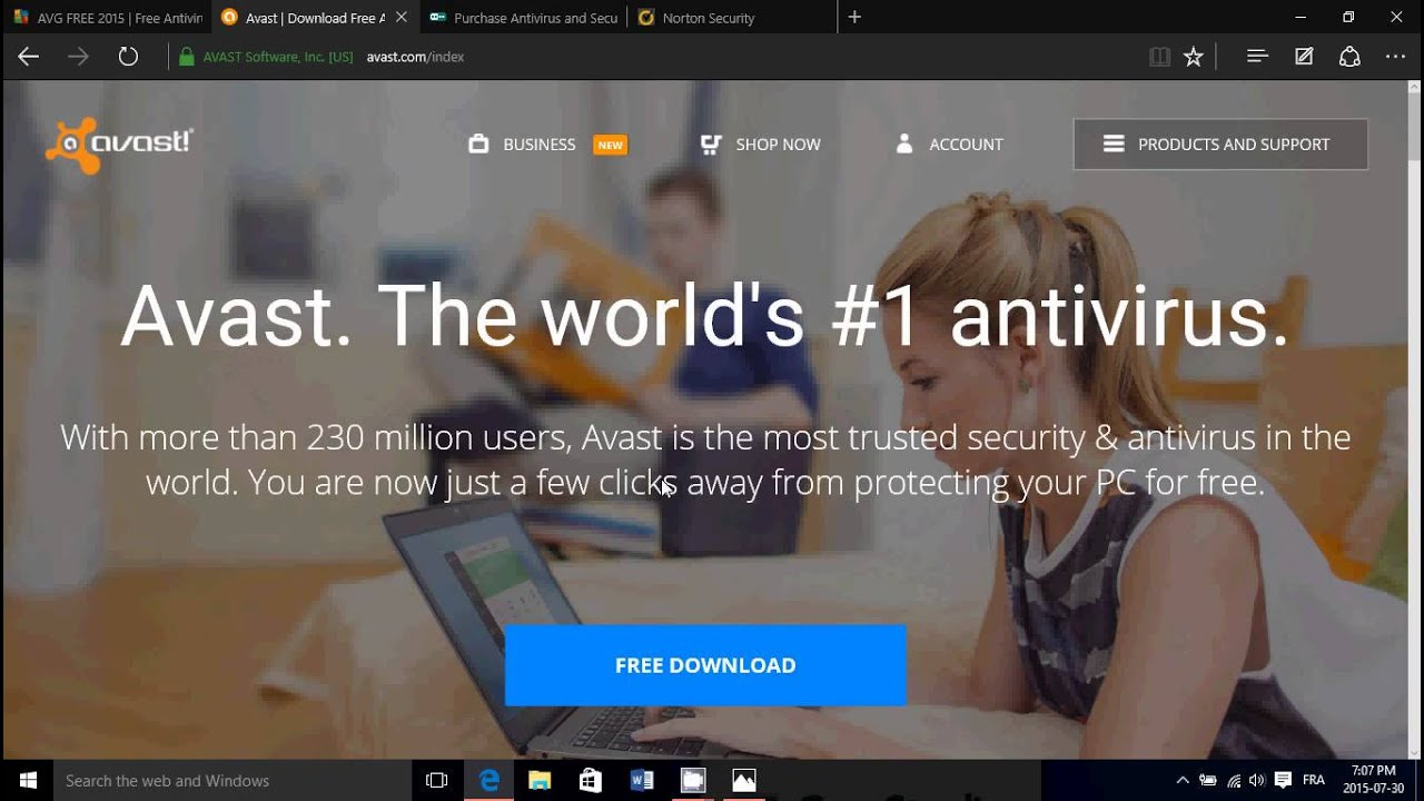 Windows 10 Antivirus and Malware protection Defender Norton NOD32 Kaspersky AVG Avast