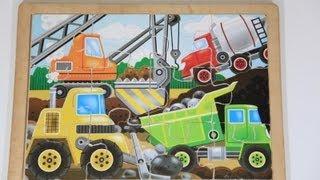 Melissa & Doug Toys Wooden Construction Truck Puzzle Dump Truck, Crane, Cement Mixer, Front Loader