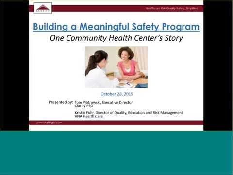 Webinar: Safety Programs for CHCs - Clarity Group, Inc.