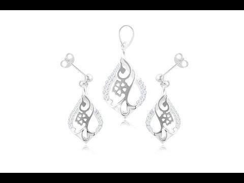 490f90c83 Šperky - Sada zo striebra 925, náušnice a prívesok - kvet v obryse kvapky,  číre zirkóny