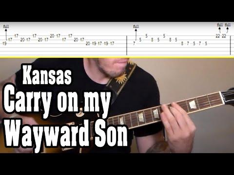 Kansas - Carry On My Wayward Son Guitar Tutorial W/TABS