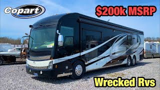 Wrecked Freightliner RV Motorhome At Copart Salvage auction With $200K Msrp Full Walkaround