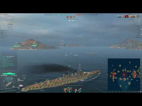 Ishizuchi Battleship review World of Warships with 4 destroyed